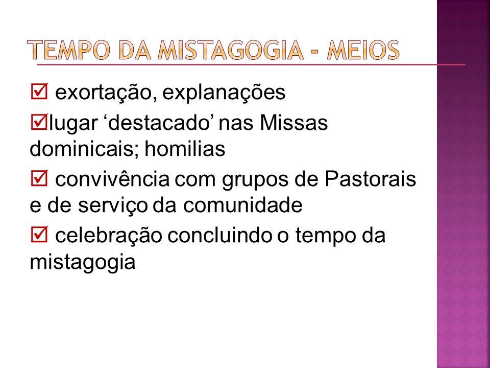 exortação, explanações lugar destacado nas Missas dominicais; homilias convivência com grupos de Pastorais e de serviço da comunidade celebração concl