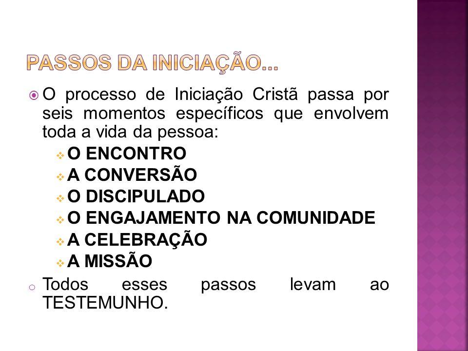 O processo de Iniciação Cristã passa por seis momentos específicos que envolvem toda a vida da pessoa: O ENCONTRO A CONVERSÃO O DISCIPULADO O ENGAJAME