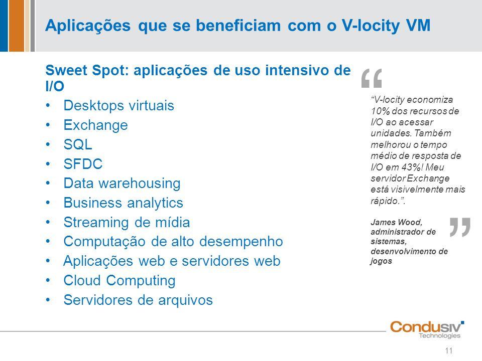 Aplicações que se beneficiam com o V-locity VM Sweet Spot: aplicações de uso intensivo de I/O Desktops virtuais Exchange SQL SFDC Data warehousing Bus