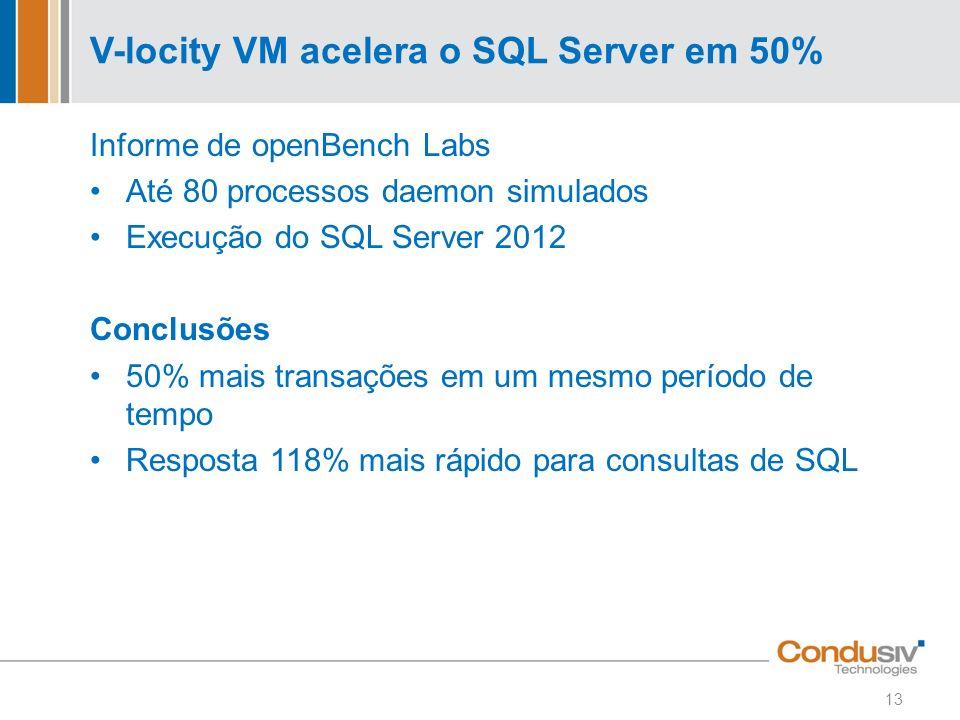 V-locity VM acelera o SQL Server em 50% Informe de openBench Labs Até 80 processos daemon simulados Execução do SQL Server 2012 Conclusões 50% mais tr