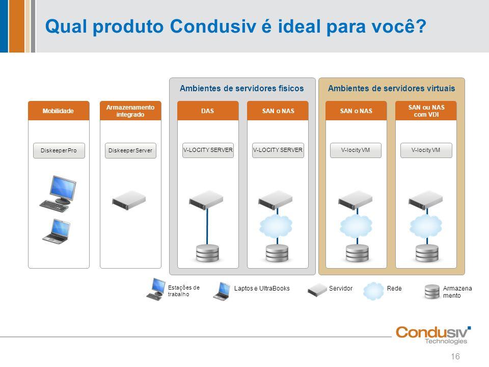 Ambientes de servidores físicosAmbientes de servidores virtuais Qual produto Condusiv é ideal para você? Mobilidade Diskeeper Pro Armazenamento integr