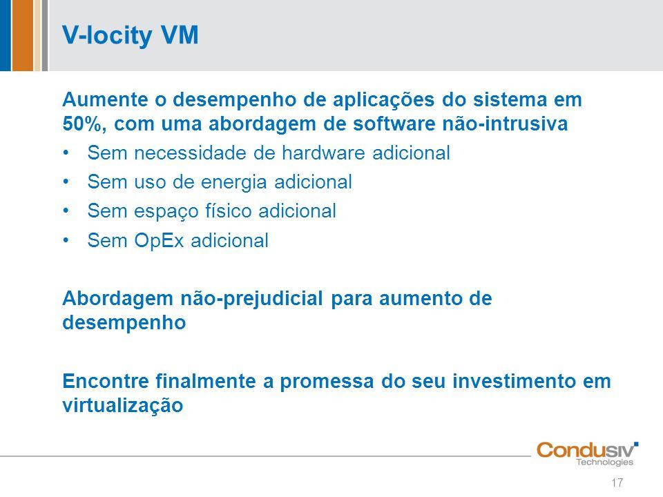 V-locity VM Aumente o desempenho de aplicações do sistema em 50%, com uma abordagem de software não-intrusiva Sem necessidade de hardware adicional Se