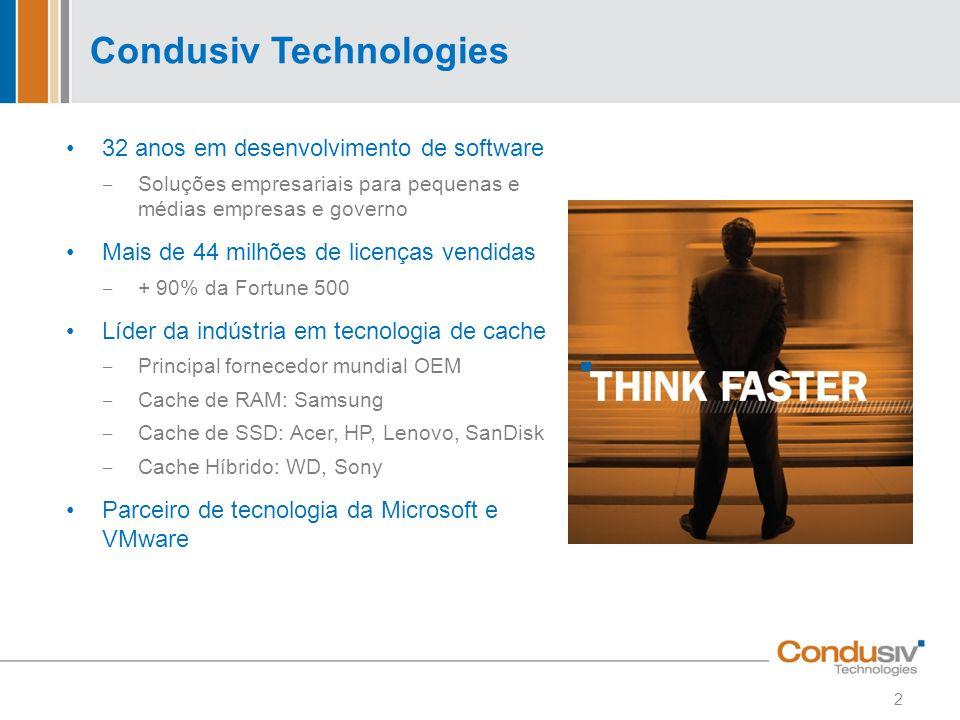 Condusiv Technologies 32 anos em desenvolvimento de software Soluções empresariais para pequenas e médias empresas e governo Mais de 44 milhões de lic