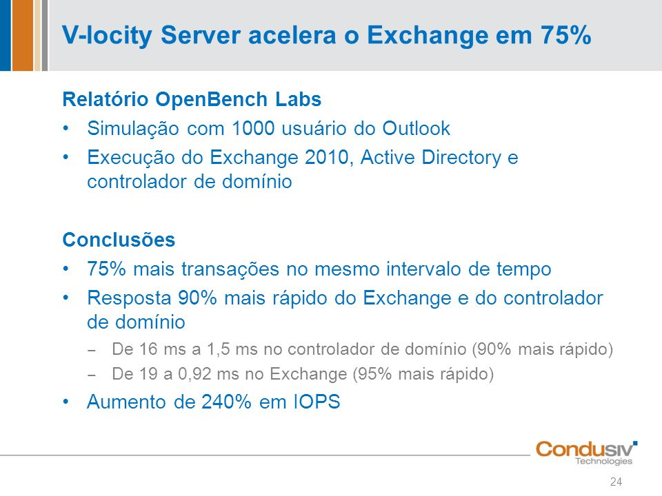 V-locity Server acelera o Exchange em 75% Relatório OpenBench Labs Simulação com 1000 usuário do Outlook Execução do Exchange 2010, Active Directory e