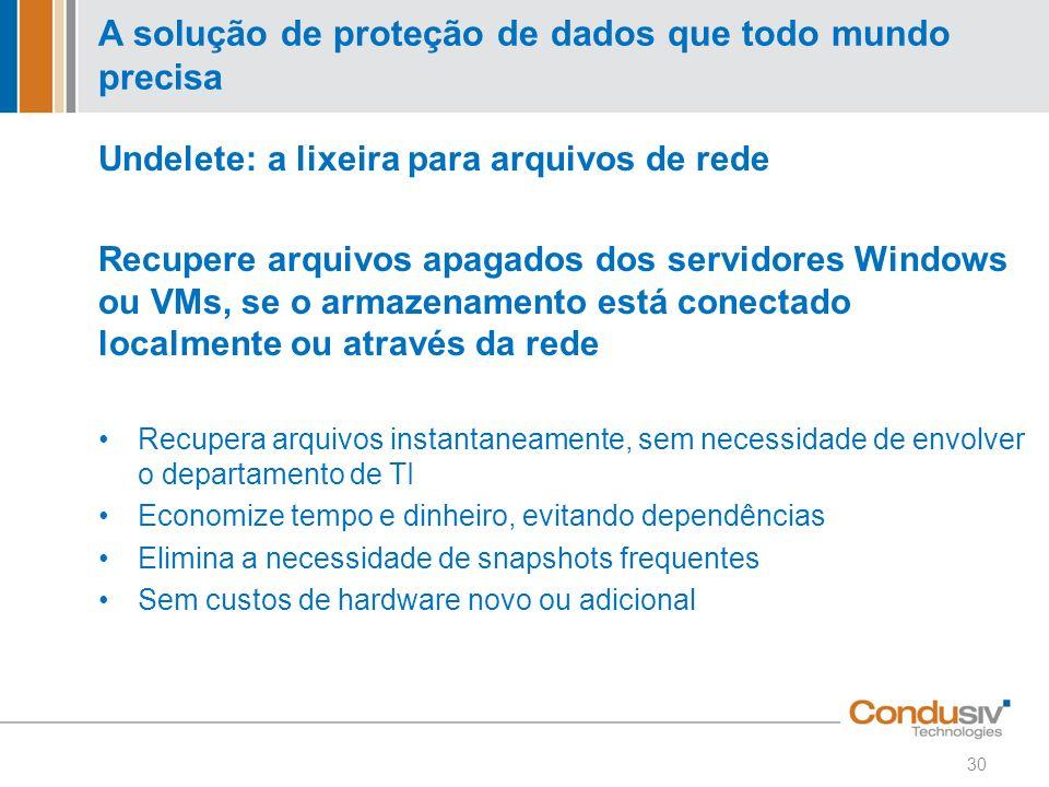 Undelete: a lixeira para arquivos de rede Recupere arquivos apagados dos servidores Windows ou VMs, se o armazenamento está conectado localmente ou at