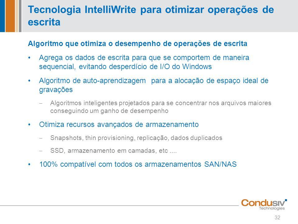 Tecnologia IntelliWrite para otimizar operações de escrita Algoritmo que otimiza o desempenho de operações de escrita Agrega os dados de escrita para