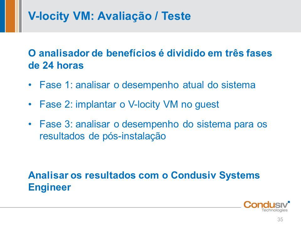 V-locity VM: Avaliação / Teste O analisador de benefícios é dividido em três fases de 24 horas Fase 1: analisar o desempenho atual do sistema Fase 2: