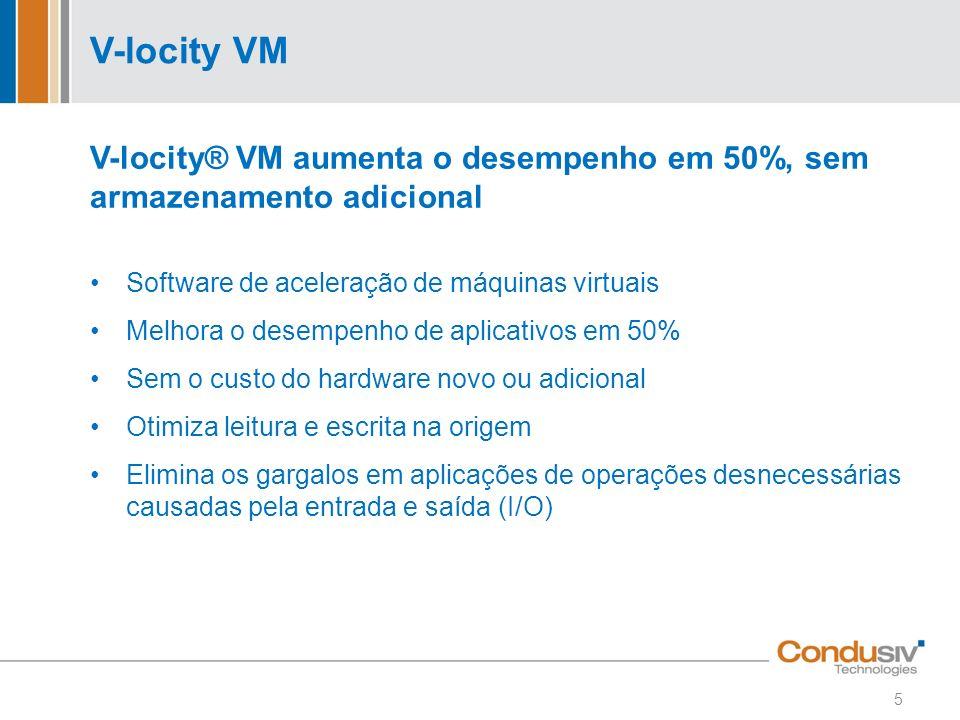 V-locity VM V-locity® VM aumenta o desempenho em 50%, sem armazenamento adicional Software de aceleração de máquinas virtuais Melhora o desempenho de