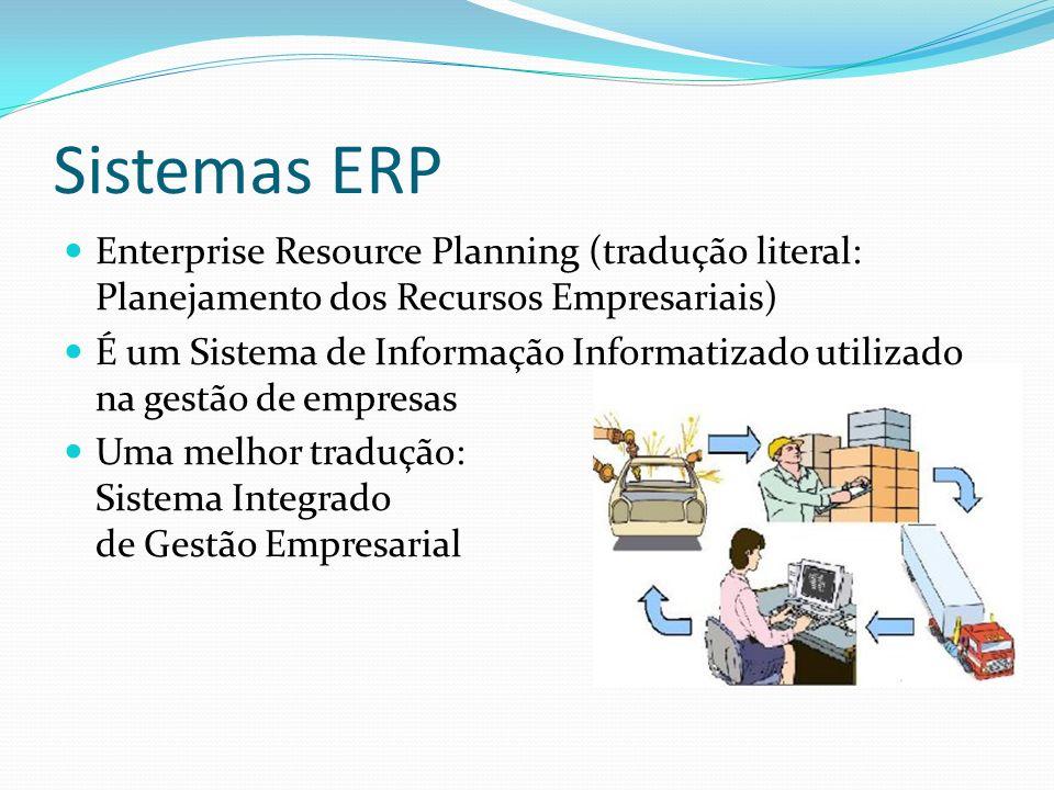 Sistemas ERP Enterprise Resource Planning (tradução literal: Planejamento dos Recursos Empresariais) É um Sistema de Informação Informatizado utilizad