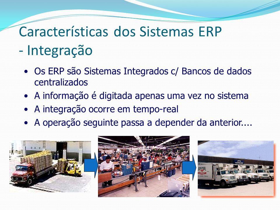 Características dos Sistemas ERP - Integração Os ERP são Sistemas Integrados c/ Bancos de dados centralizados A informação é digitada apenas uma vez n