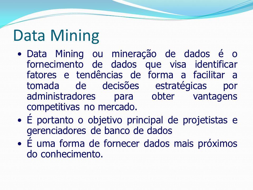 Data Mining Data Mining ou mineração de dados é o fornecimento de dados que visa identificar fatores e tendências de forma a facilitar a tomada de dec
