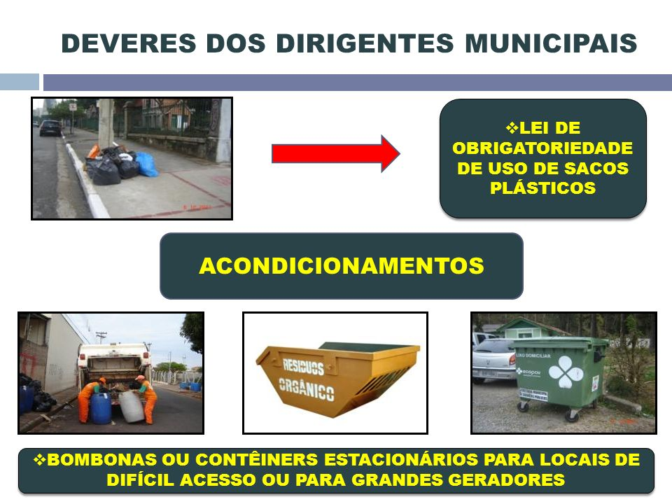 DEVERES DOS DIRIGENTES MUNICIPAIS LEI DE OBRIGATORIEDADE DE USO DE SACOS PLÁSTICOS LEI DE OBRIGATORIEDADE DE USO DE SACOS PLÁSTICOS BOMBONAS OU CONTÊINERS ESTACIONÁRIOS PARA LOCAIS DE DIFÍCIL ACESSO OU PARA GRANDES GERADORES ACONDICIONAMENTOS