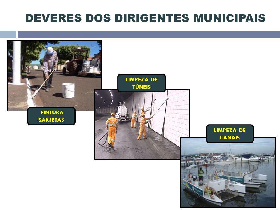 DEVERES DOS DIRIGENTES MUNICIPAIS PINTURA SARJETAS LIMPEZA DE CANAIS LIMPEZA DE TÚNEIS