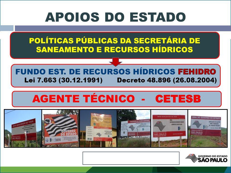 POLÍTICAS PÚBLICAS DA SECRETÁRIA DE SANEAMENTO E RECURSOS HÍDRICOS APOIOS DO ESTADO