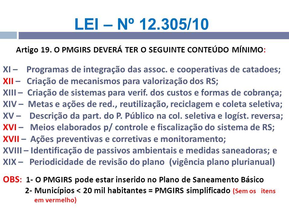 Artigo 19. O PMGIRS DEVERÁ TER O SEGUINTE CONTEÚDO MÍNIMO: XI – Programas de integração das assoc. e cooperativas de catadoes; XII – Criação de mecani