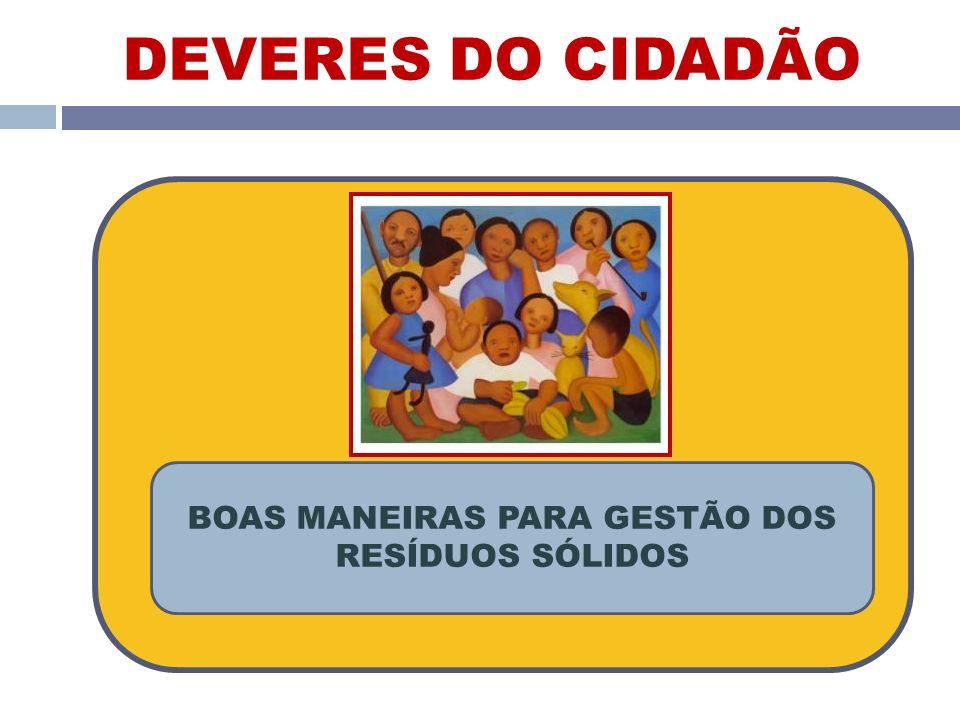 BOAS MANEIRAS PARA GESTÃO DOS RESÍDUOS SÓLIDOS DEVERES DO CIDADÃO
