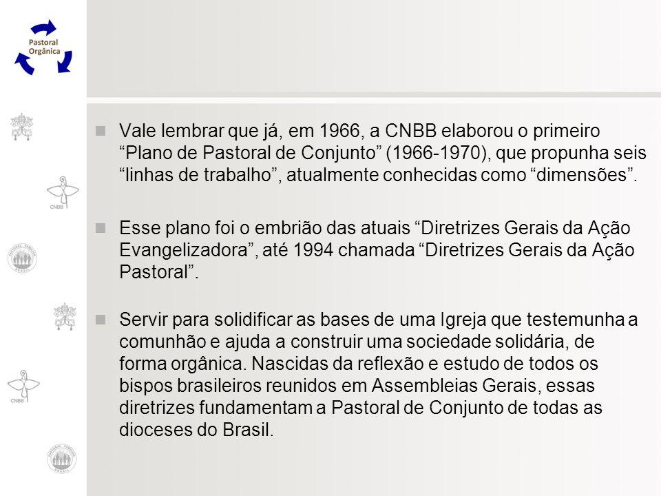 Vale lembrar que já, em 1966, a CNBB elaborou o primeiro Plano de Pastoral de Conjunto (1966-1970), que propunha seis linhas de trabalho, atualmente c