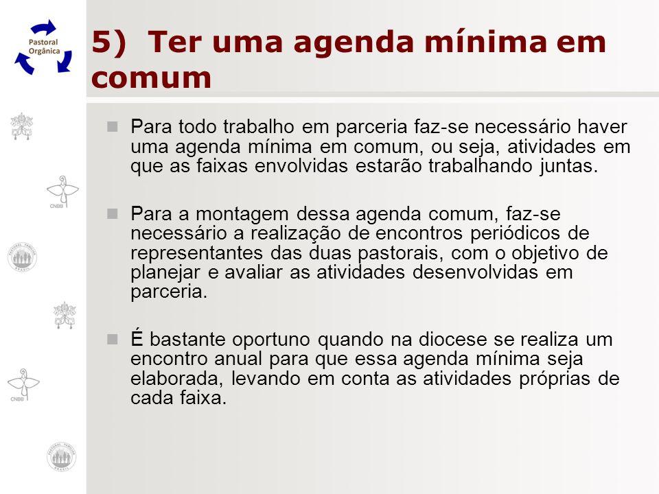 5) Ter uma agenda mínima em comum Para todo trabalho em parceria faz-se necessário haver uma agenda mínima em comum, ou seja, atividades em que as fai