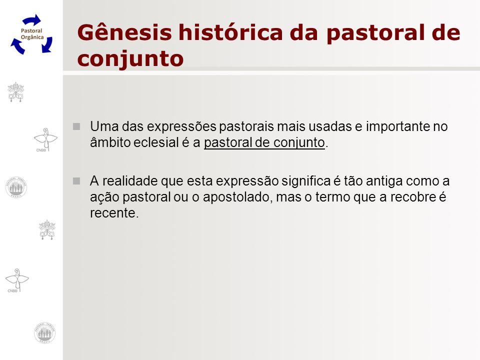 Gênesis histórica da pastoral de conjunto Uma das expressões pastorais mais usadas e importante no âmbito eclesial é a pastoral de conjunto. A realida