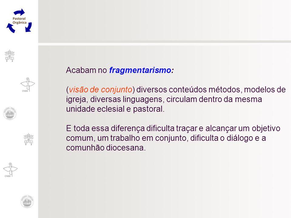 Acabam no fragmentarismo: (visão de conjunto) diversos conteúdos métodos, modelos de igreja, diversas linguagens, circulam dentro da mesma unidade ecl