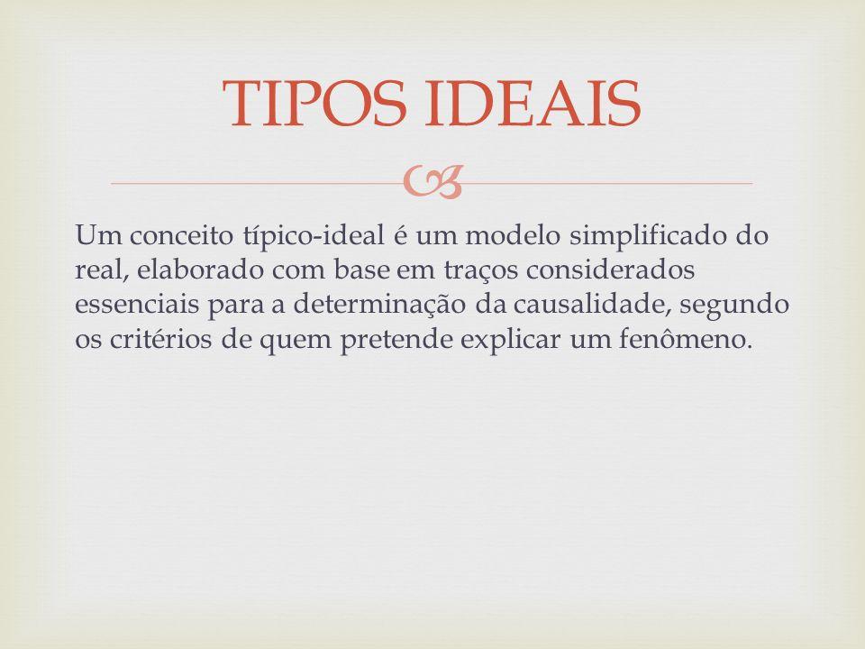 Um conceito típico-ideal é um modelo simplificado do real, elaborado com base em traços considerados essenciais para a determinação da causalidade, se