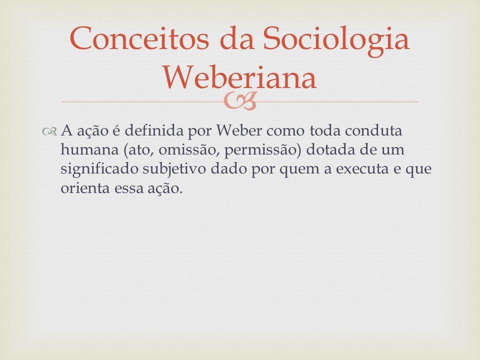 A ação é definida por Weber como toda conduta humana (ato, omissão, permissão) dotada de um significado subjetivo dado por quem a executa e que orient
