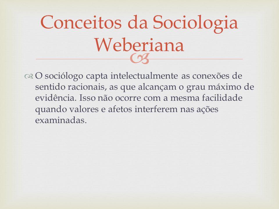 O sociólogo capta intelectualmente as conexões de sentido racionais, as que alcançam o grau máximo de evidência. Isso não ocorre com a mesma facilidad