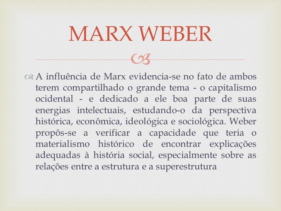 A influência de Marx evidencia-se no fato de ambos terem compartilhado o grande tema - o capitalismo ocidental - e dedicado a ele boa parte de suas en