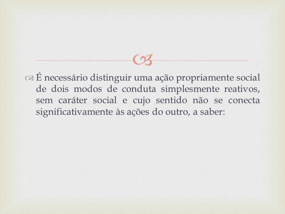 É necessário distinguir uma ação propriamente social de dois modos de conduta simplesmente reativos, sem caráter social e cujo sentido não se conecta