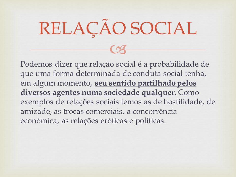 Podemos dizer que relação social é a probabilidade de que uma forma determinada de conduta social tenha, em algum momento, seu sentido partilhado pelo