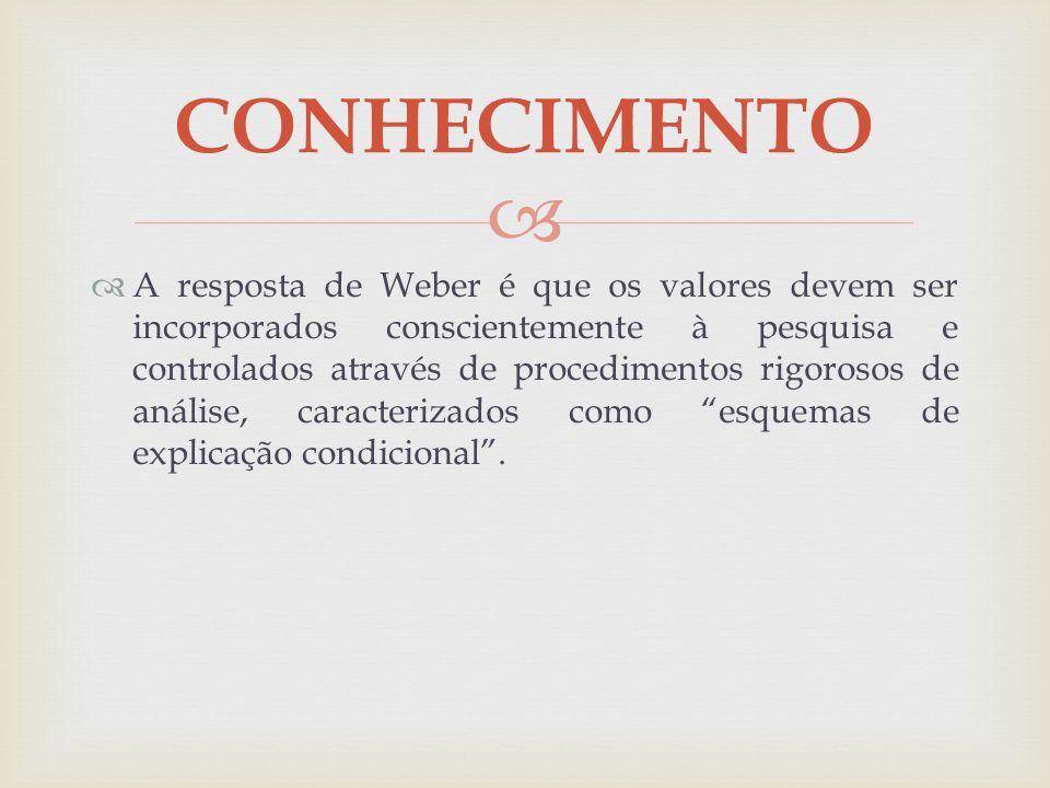 A resposta de Weber é que os valores devem ser incorporados conscientemente à pesquisa e controlados através de procedimentos rigorosos de análise, ca