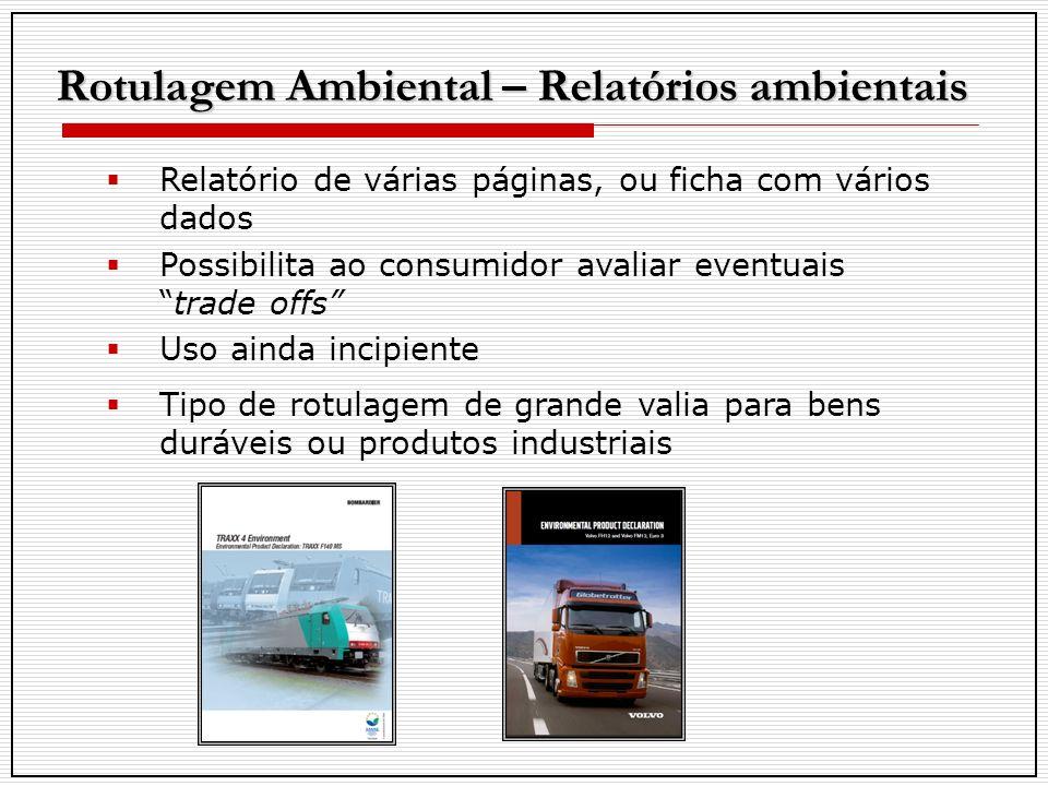 Rotulagem Ambiental – Relatórios ambientais Relatório de várias páginas, ou ficha com vários dados Possibilita ao consumidor avaliar eventuaistrade of