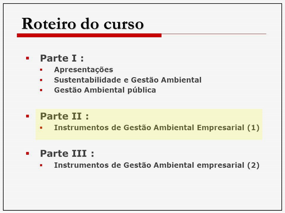 Roteiro do curso Parte I : Apresentações Sustentabilidade e Gestão Ambiental Gestão Ambiental pública Parte II : Instrumentos de Gestão Ambiental Empr