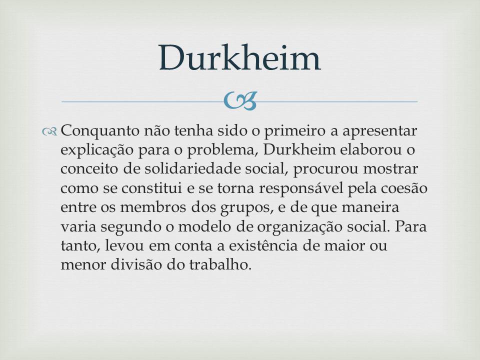 Conquanto não tenha sido o primeiro a apresentar explicação para o problema, Durkheim elaborou o conceito de solidariedade social, procurou mostrar como se constitui e se torna responsável pela coesão entre os membros dos grupos, e de que maneira varia segundo o modelo de organização social.