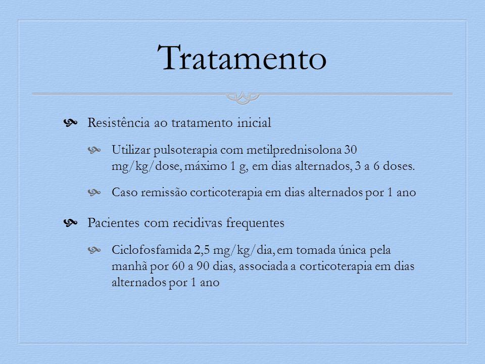 Tratamento Resistência ao tratamento inicial Utilizar pulsoterapia com metilprednisolona 30 mg/kg/dose, máximo 1 g, em dias alternados, 3 a 6 doses. C