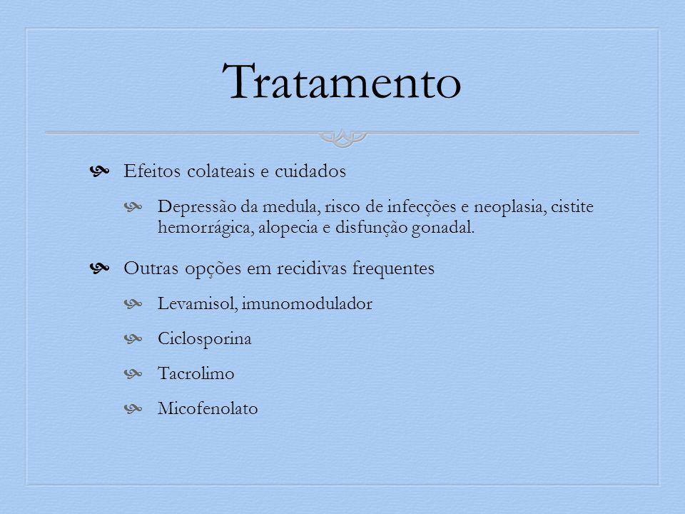 Tratamento Efeitos colateais e cuidados Depressão da medula, risco de infecções e neoplasia, cistite hemorrágica, alopecia e disfunção gonadal.