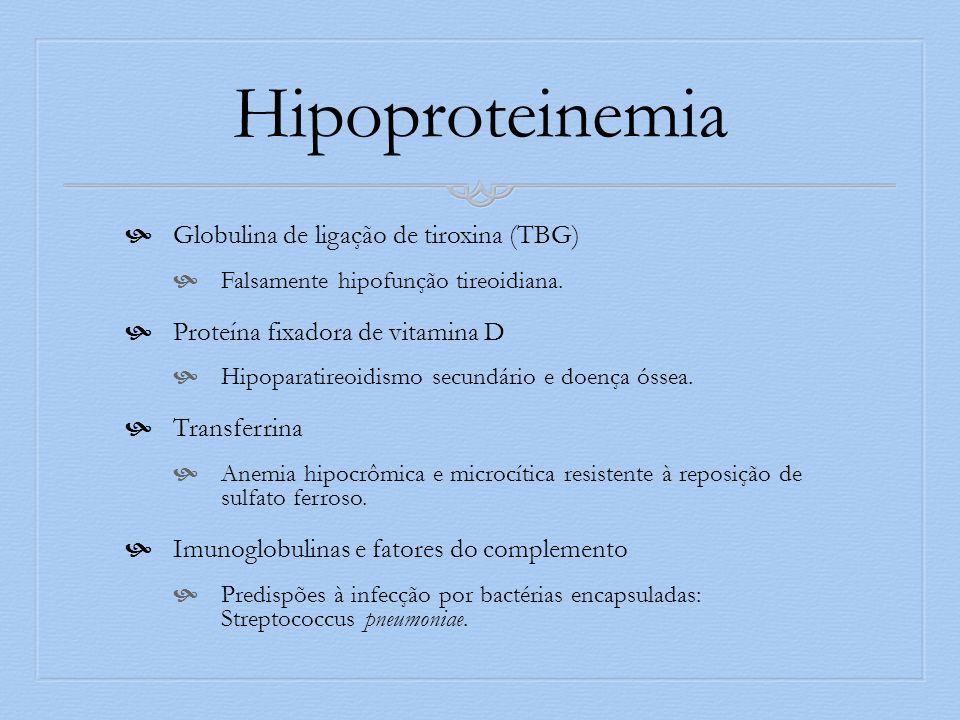 Hipoproteinemia Globulina de ligação de tiroxina (TBG) Falsamente hipofunção tireoidiana. Proteína fixadora de vitamina D Hipoparatireoidismo secundár