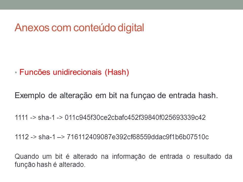 Anexos com conteúdo digital Funcões unidirecionais (Hash) Exemplo de alteração em bit na funçao de entrada hash. 1111 -> sha-1 -> 011c945f30ce2cbafc45