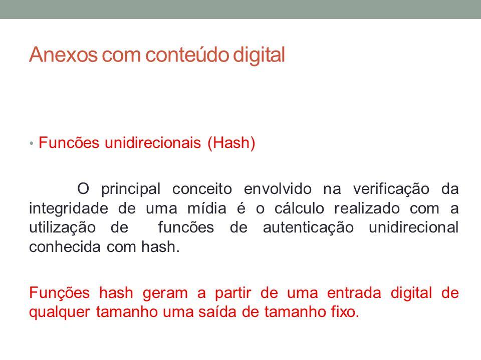 Anexos com conteúdo digital Funcões unidirecionais (Hash) O principal conceito envolvido na verificação da integridade de uma mídia é o cálculo realiz