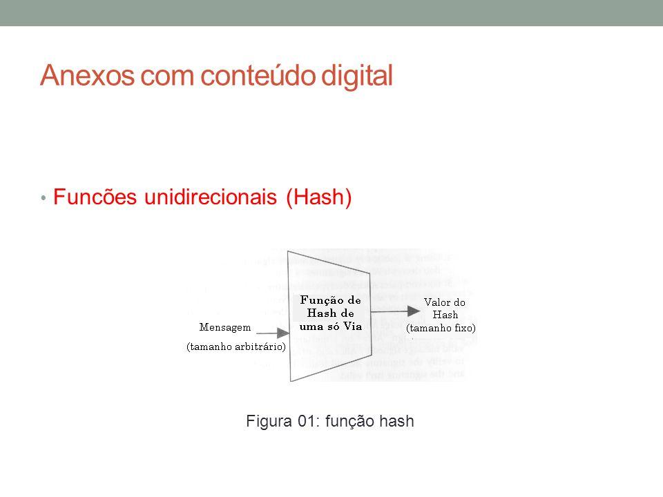 Anexos com conteúdo digital Funcões unidirecionais (Hash) A função hash transforma uma grande quantidade de bits (informação original) em uma seguência sempre do mesmo tamanho (valor hash) não sendo possível recuperar o valor inicial a partir da soma hash gerada.