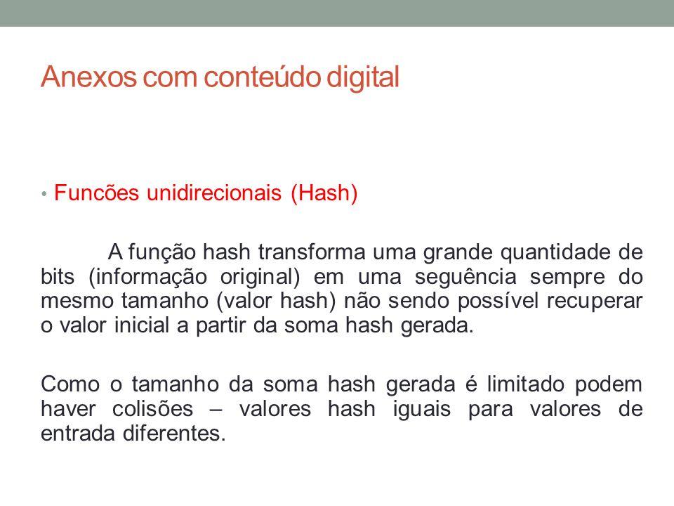 Anexos com conteúdo digital Funcões unidirecionais (Hash) A função hash transforma uma grande quantidade de bits (informação original) em uma seguênci