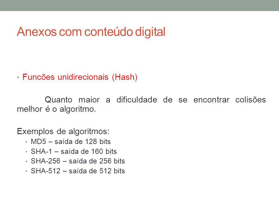 Anexos com conteúdo digital Funcões unidirecionais (Hash) Quando um único bit é alterado em um informação que foi submetida a uma função hash o resultado desta informação ao ser novamente submetida à função hash não será o mesmo do valor hash anterior à modificação.