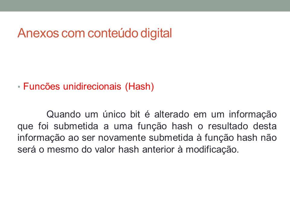 Anexos com conteúdo digital Funcões unidirecionais (Hash) Exemplo de alteração em bit na funçao de entrada hash.