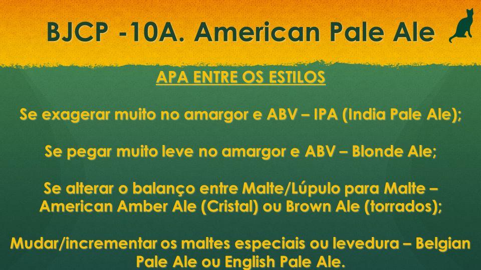 BJCP -10A. American Pale Ale APA ENTRE OS ESTILOS Se exagerar muito no amargor e ABV – IPA (India Pale Ale); Se pegar muito leve no amargor e ABV – Bl