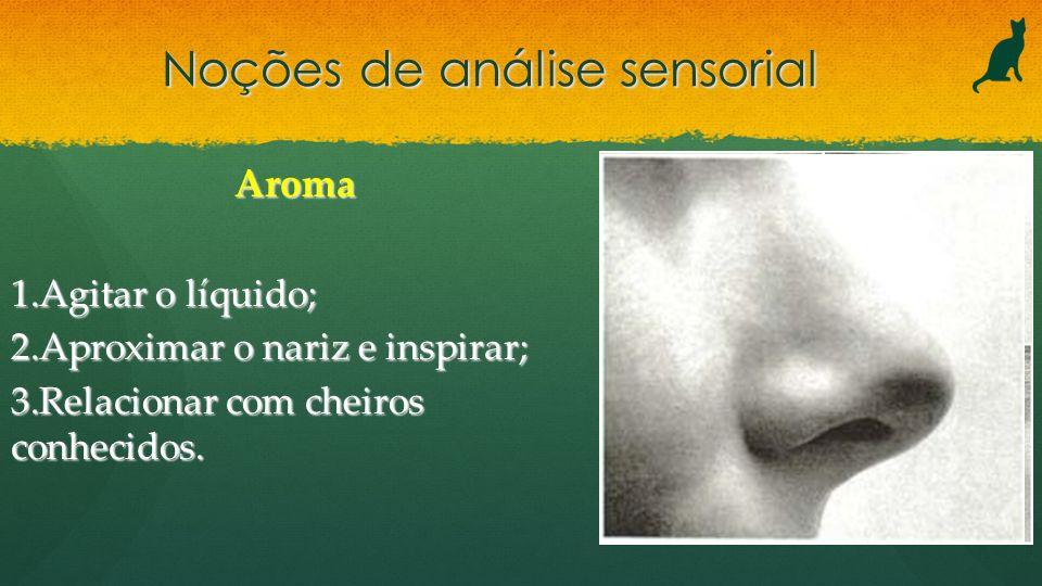 Noções de análise sensorial Aroma 1.Agitar o líquido; 2.Aproximar o nariz e inspirar; 3.Relacionar com cheiros conhecidos.