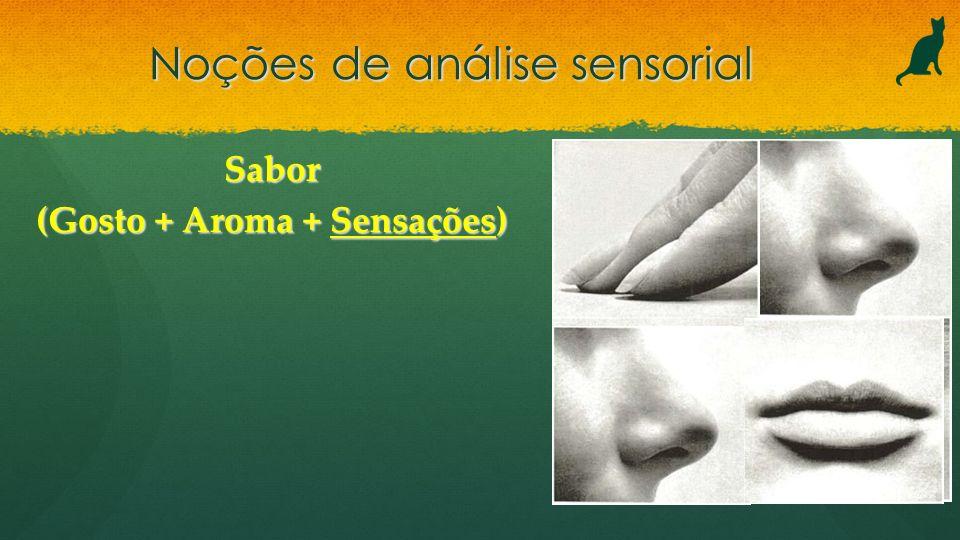 Noções de análise sensorial Sabor (Gosto + Aroma + Sensações)
