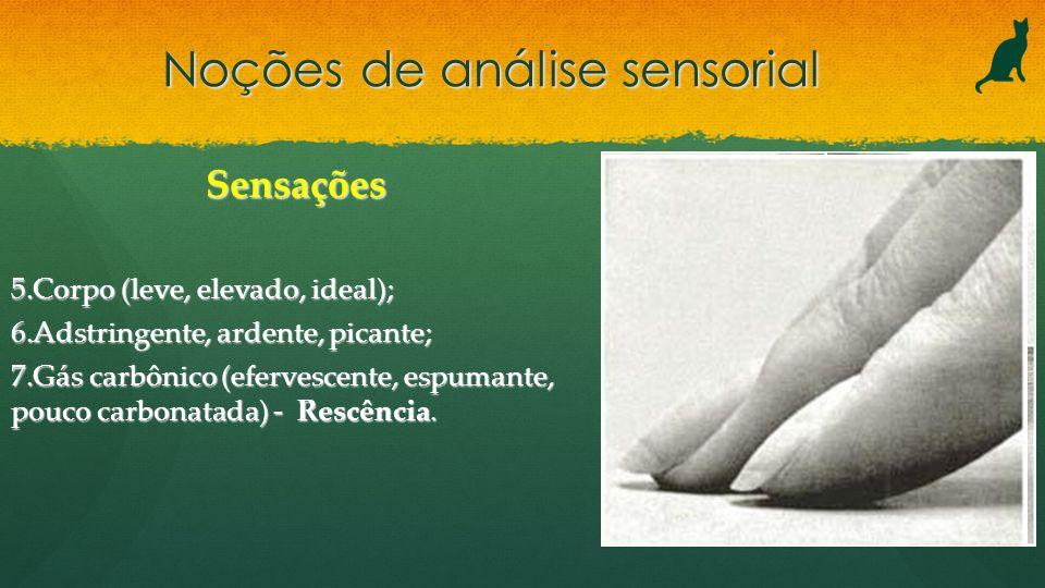 Noções de análise sensorial Sensações 5.Corpo (leve, elevado, ideal); 6.Adstringente, ardente, picante; 7.Gás carbônico (efervescente, espumante, pouc