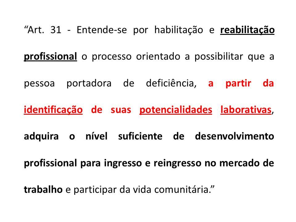 Art. 31 - Entende-se por habilitação e reabilitação profissional o processo orientado a possibilitar que a pessoa portadora de deficiência, a partir d