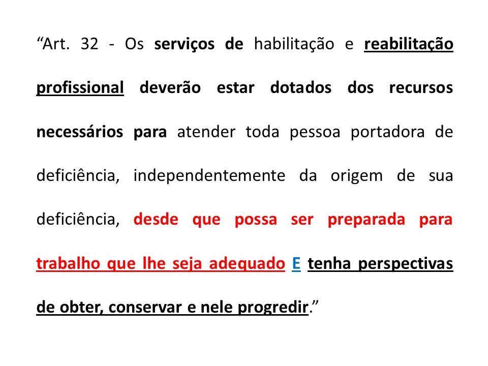 Art. 32 - Os serviços de habilitação e reabilitação profissional deverão estar dotados dos recursos necessários para atender toda pessoa portadora de