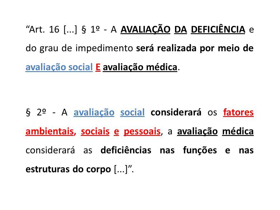 Art. 16 [...] § 1º - A AVALIAÇÃO DA DEFICIÊNCIA e do grau de impedimento será realizada por meio de avaliação social E avaliação médica. § 2º - A aval